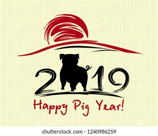 Chinese New Year 2019. Greeting card. Pig, traditional symbol by eastern calendar. Painting calligraphy. Vector illustration