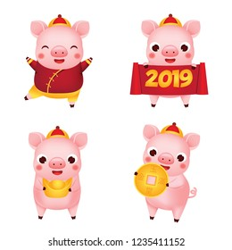 Chinese new year. 2019 happy cartoon pig collection. illustration for calendars and cards. Pigs with yuanbao, coin and other traditional symbols of national celebration