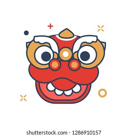 Chinese New Year 2019 Icon | Barongsai head Icon - with Outline Filled Style