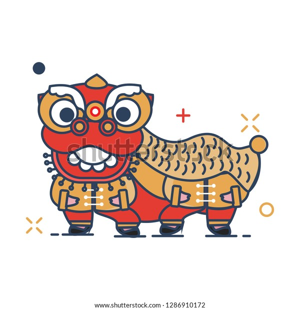 Chinese New Year 2019 Icon | Barongsai Icon - with Outline Filled Style
