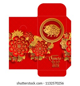 chinese new year 2019 money red envelopes  packet Zodiac sign with gold paper cut art and craft style on color Background.(Chinese Translation : Year of the pig)