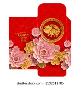 chinese new year 2019 money red envelopes packet ( 9 x 17 Cm.) Zodiac sign with gold paper cut art and craft style on color Background.(Chinese Translation : Year of the pig)