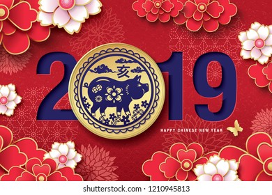 Chinese new year 2019 (Year of the pig) greeting design with traditional chinese zodiac pig year paper art and blossom flowers