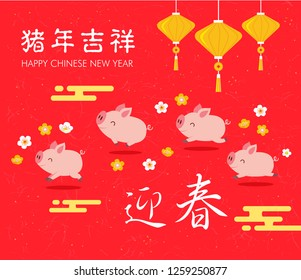 Chinese New Year 2019. Year of the Pig. Chinese zodiac symbol of 2019 Vector Design. Translation: happy new year.