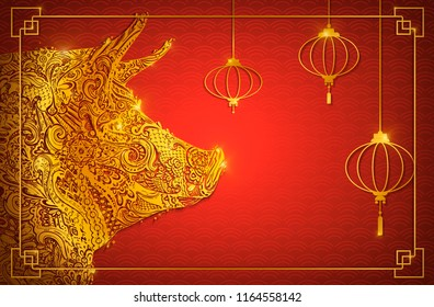 Chinese New Year 2019. Zodiac Pig. Happy New Year card, pattern, art with dog. Paper Cutting Hand drawn Vector illustration. Chinese traditional Design, golden decoration.