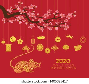 Chinese new year 2020 with lantern. Year of the rat