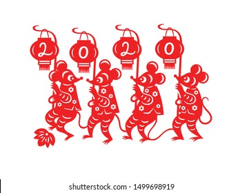 Chinese New Year 2020 marching little mouses postcard