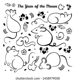 Chinese New Year 2020. The Year of the Mouse or Rat. Vector outline hand drawn brush illustration with different animal characters, decorative elements and flowers. Black on white background