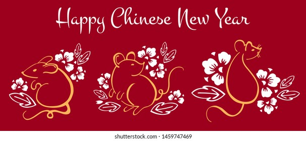 Chinese New Year 2020. The Year of the Mouse or Rat. Vector set with outline hand drawn brush illustration of three mice and decorative flowers. White and golden on red background