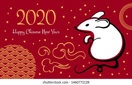 Chinese New Year 2020. The Year of the Mouse or Rat. Vector outline hand drawn brush illustration with mouse and decorative elements. White, black and golden on red background