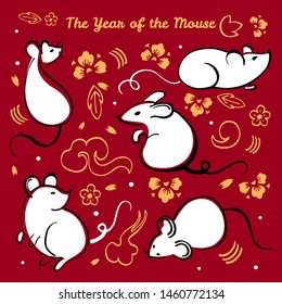 Chinese New Year 2020. The Year of the Mouse or Rat. Vector outline hand drawn brush illustration set with animal characters, decorative elements and flowers white, black and gold on red background