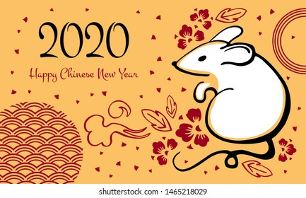 Chinese New Year 2020. The Year of the Mouse or Rat. Vector outline hand drawn brush illustration with mouse and flowers. White, black and red on golden background