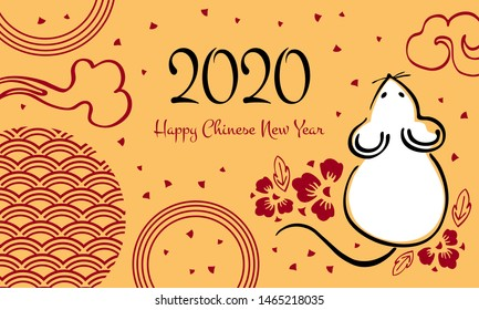Chinese New Year 2020. The Year of the Mouse or Rat. Vector outline hand drawn brush illustration with sitting mouse and flowers. White, black and red on golden background