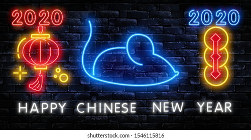 Chinese New Year 2020 Neon Sign Vector. Year of Rat Design Template. Chinese zodiac symbol of 2020 Vector Design. Hieroglyph means Rat.