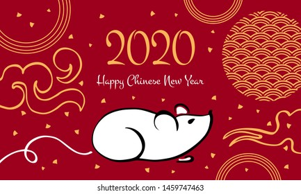 Chinese New Year 2020 print template. The Year of the Mouse or Rat. Vector outline hand drawn brush illustration with mouse and decorative elements. White, black and golden on red background