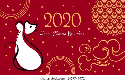 Chinese New Year 2020 print template. The Year of the Mouse. Vector outline hand drawn brush illustration with sitting mouse, greeting and decorative elements. White, black and gold on red background