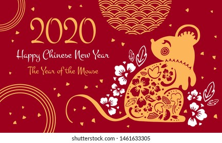 Chinese New Year 2020 print template. The Year of the Mouse or Rat. Vector ornate papercut silhouette illustration with mouse and decorative elements. Golden on red background