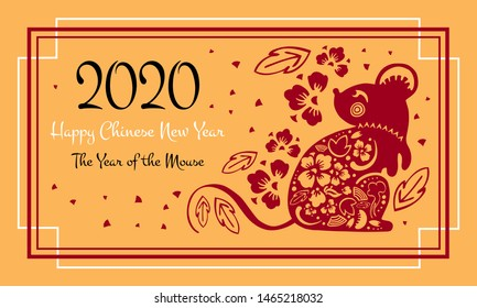 Chinese New Year 2020 print template. The Year of the Mouse or Rat. Vector ornate papercut silhouette illustration with mouse and flowers. Red on golden background