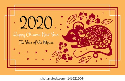 Chinese New Year 2020 print card and web banner template. The Year of the Mouse or Rat. Vector papercut silhouette illustration with mouse and flowers. Black, white and red on golden  background