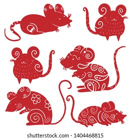 Chinese new year 2020 year of the rat, red and gold line rat character, simple hand drawn asian elements with craft style on background. (Chinese translation: Happy chinese new year 2020, year of rat)