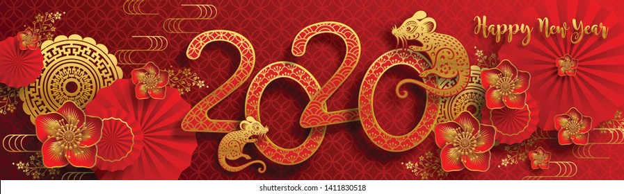 Chinese new year 2020 year of the rat , red and gold paper cut rat character, flower and asian elements with craft style on background. (Chinese translation : Happy chinese new year 2020, year of rat)