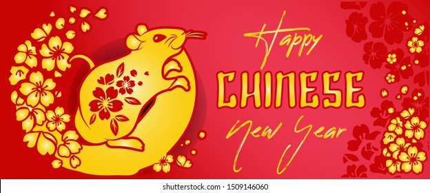 Chinese New year 2020 year Rat, red and gold paper cut rat character, flower and Asian elements with craft style on background, Christmas taming for Asian new year, greeting card