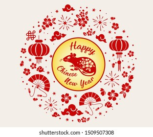 Chinese New year 2020 year Rat, red and gold paper cut rat character, flower and Asian elements with craft style on background, Christmas taming for Asian new year, greeting card, Happy Lunar New Year