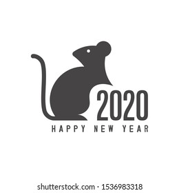 Chinese New Year 2020 year of the rat, rat in the geometry of the golden ratio, on a white background minimalism style, two thousand twenty Text Design. Vector illustration.