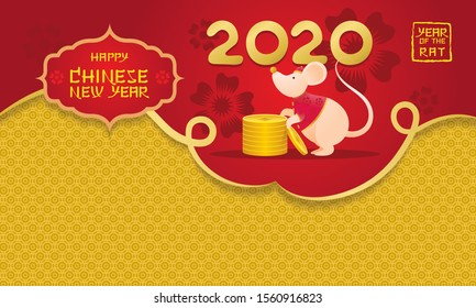 Chinese New Year 2020 Year of the Rat, Cartoon Character and Background, Zodiac, Holiday, Greeting and Celebration