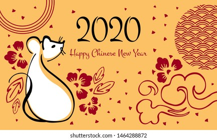 Chinese New Year 2020 template. The Year of the Mouse or Rat. Vector outline hand drawn brush illustration with sitting mouse, greeting and decorative flowers. White and red on golden background