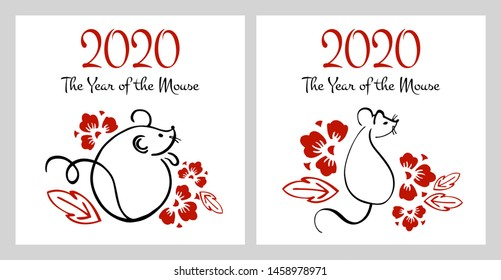 Chinese New Year 2020 two print templates. The Year of the Mouse or Rat. Vector outline hand drawn brush illustration with mice and flowers. Black and red on white background