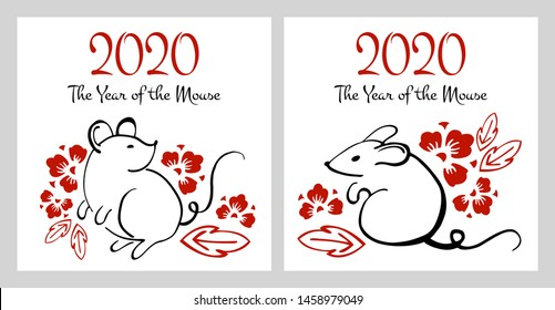 Chinese New Year 2020 two print templates. The Year of the Mouse or Rat. Vector outline hand drawn brush illustration with sitting mice and flowers. Black and red on white background