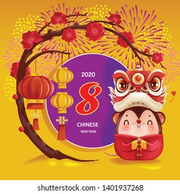 Chinese New Year 2020.Traditional greeting card with plum blossom. Asian decoration. lion dance head. Rat zodiac symbol of the year. calligraphy. Eight numbers of Chinese auspicious letters.
