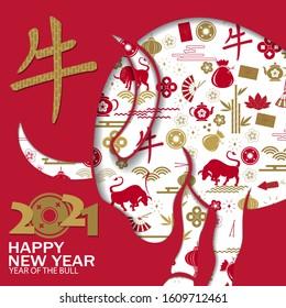 Chinese new year 2021 background. Chinese translation Happy chinese new year 2021, bull