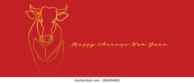 Chinese new year 2021 year of the cow, red and gold line art character, simple hand drawn asian elements with craft style on background. (Chinese translation: Happy chinese new year 2021, year of cow)