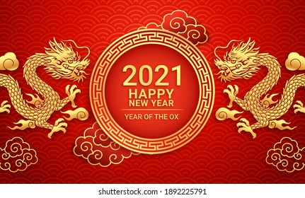 Chinese new year 2021 Golden dragon on greeting card background. Vector illustrations.