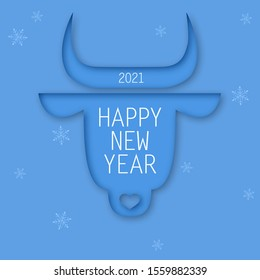Chinese new year. 2021 New year. Metal ox horoscope sign. 2021 design. New year symbol. 2021 logo design. Chinese horoscope metal ox with 2021. Flat minimalistic vector illustration. Ox horoscope sign
