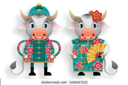 Chinese new year 2021 year of the ox , red and gold paper cut ox character,flower and asian elements with craft style on background. (Chinese translation : Happy chinese new year 2021, year of ox)