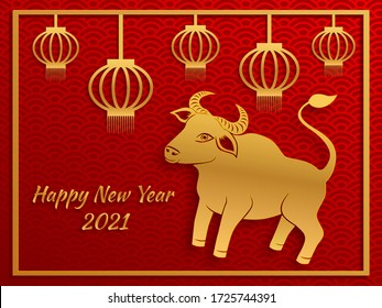 Chinese new year 2021 year of the ox , red and gold paper cut ox and lanterns character in craft style on traditional background.