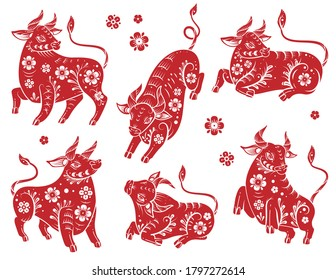 Chinese new year 2021 ox. Red and white paper cut silhouette buffalo with floral asian pattern. Bull traditional orient zodiac fortune symbol with blossom in different poses vector isolated set