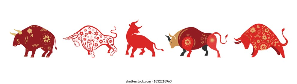 Chinese new year 2021 year of the ox, Chinese zodiac symbol, Chinese text says: Happy chinese new year 2021, year of ox