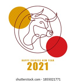 Chinese new year 2021. Ox horoscope sign. Chinese horoscope metal ox. Vector illustration. Isolated on white background.