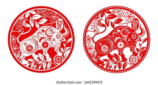 Chinese new year 2021 year of the ox,Red paper cut chinese Ox cow zodiac and flower in Rounded circle frame and china word mean ox