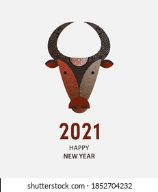 Chinese New Year 2021. Zodiac Ox. Happy New Year card, pattern, art, logo, poster with ox. Decorated with ornament Vector illustration.