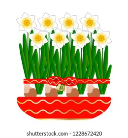 Chinese New Year. 8 narcissus bloom in a ceramic pot. Tied with a red ribbon with a bow. Pendant pig with a sign Fu character - means luck.