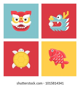 Chinese new year animal sign flat icon set