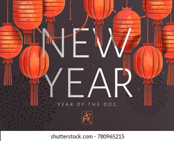 Chinese new year art, elegant red lanterns hanging in the air with chrysanthemum background