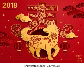 Chinese new year art, traditional chinese zodiac dog year paper art, spring word in Chinese isolated on red background