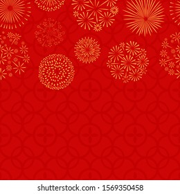 Chinese New Year. Asian seamless pattern and golden fireworks. Vector japanese, thai or korean festive banner