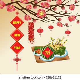"Chinese new year background blooming sakura branches, Vietnamese new year. (Translation ""T?t"" : Lunar new year)"